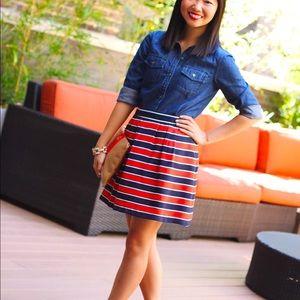 J.crew Red blue striped mini skirt